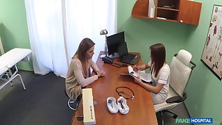 Girl on girl lovemaking in the hospital with sexy patient Chloe Lovette
