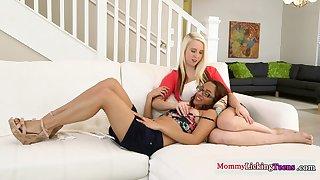 Bigtit stepmom rubbing teens toyed pussies