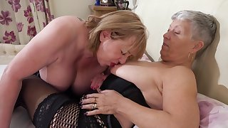 Chubby grannies debilitating stockings copulation on the bed