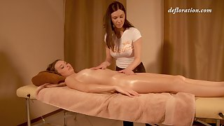 Virtually legal virgin Elena Seregyna gets her pussy massaged and genuinely satisfied