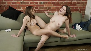 Inferior lesbians Terry and Erika licking each other's pussy