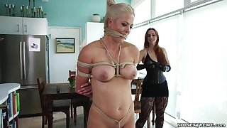 Large-Breasted lezdom whips fated babe in kitchen